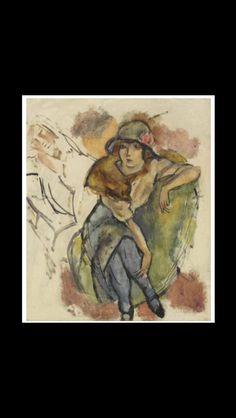 """Jules Pascin - """" Jeune fille au chapeau à la rose """", 1914 - Oil over pencil on canvas - 55,2 x 46,4 cm"""