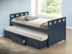 Broyhill Kids Breckenridge Captain's Bed with Trundle Bed and Drawers, Blue The Broyhill Kids Breckenridge Twin Captain's Bed features a pull-out twin trundle Toddler Bunk Beds, Kid Beds, Home Room Design, Bed Design, Twin Captains Bed, Loft Bed Plans, Cool Bunk Beds, Bed With Drawers, Minimalist Room