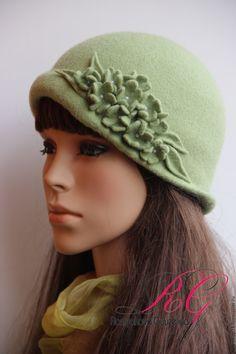 Купить Шляпка валяная Напоминание о лете - однотонный, валяная шляпка, шляпа женская, войлочная шляпка
