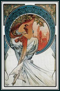 Mucha: The Arts series (1898) - Poetry, indicating the evening star shining in the sky at dusk. Originally printed at the height of Mucha's fame on vellum, it was later printed on satin.