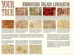 Embossed vinyl flooring from 1963 - Armstrong vintage ad files. Vinyl Sheet Flooring, Linoleum Flooring, Stone Flooring, Floors, Vintage Advertisements, Vintage Ads, Vintage Designs, Vintage Decor, Armstrong Flooring