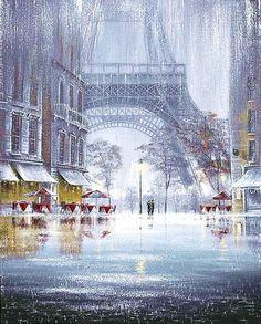 """""""Unforgettable"""" by Jeff Rowland, painting, paris, eiffel tower, rain Paris Amor, Paris 3, Louvre Paris, Paris Love, Rainy Paris, Torre Eiffel Paris, Paris Eiffel Tower, Belle Photo, Monuments"""