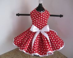 Dog Dress White With Hot Pink Polka Dots by NinasCoutureCloset
