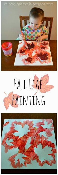 Super simple, beautiful Fall leaf painting for toddlers, preschoolers, and older kids!