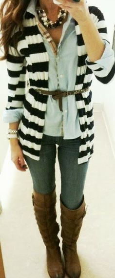 Fall Outfit With Black Stripes Blouse and Long Boots