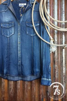 The Durango – rustic tinsel and denim shirt from Savannah Sevens Western Chic