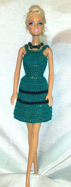 Crochet Barbie Dress, Fashion Doll Crocheted Clothing, Handmade Barbie Clothes by GrandmasGalleria on Etsy