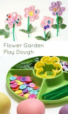 Flower garden play dough invitation to play. Playdough Activities, Toddler Activities, Preschool Activities, Flower Activities For Kids, Preschool Flower Theme, Spring Preschool Theme, Spring Theme, Spring Activities, Play Dough