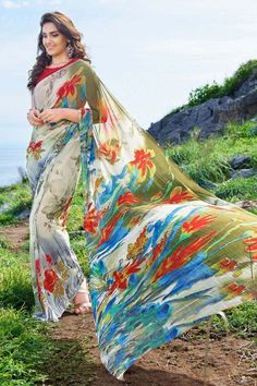#MultiColor #Designer #Flower #Printed #Georgette Saree With Blouse