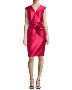 Ruffled-Waist Cap-Sleeve Cocktail Dress, Lipstick by Carmen Marc Valvo at Neiman Marcus.