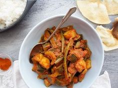 Indian Spiced Zucchini, Peas and Beans in Tomato Sauce