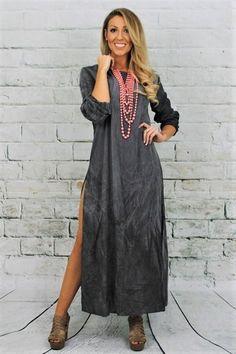 Charcoal Long Split Maxi Dress
