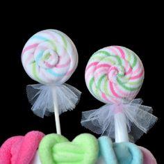Baby Washcloth Lollipops!