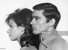 Italian actress Lea Massari and French actor Alain Delon on the set of L'Insoumis (The Unvanquished), written and directed by Alain Cavalier.