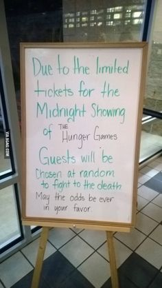 At a movie theater. And I just found out today that they're already selling tickets for Catching Fire!