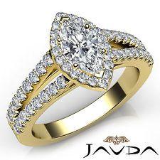 Marquise Cut Diamond Engagement GIA H VVS2 Prong Set Ring 18k Yellow Gold 1.75Ct