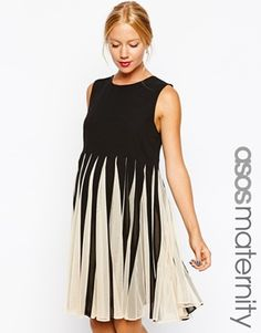 ASOS Maternity Fit and Flare Dress With Mesh Insert