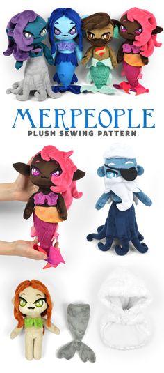 Mermaid or merman merfolk plush doll sewing pattern