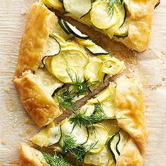 Lemony Ricotta Summer Squash Galette // Made my own piecrust. Had only zucchini, yellow squash not being available. Didn't add the dill at the end, but I think this would be nice.