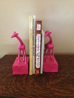 Pink Giraffe Bookends for Nursery on Etsy, $12.00