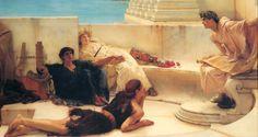 Sir Lawrence Alma-Tadema (1836-1912)    http://www.wikipaintings.org/en/sir-lawrence-alma-tadema/a-reading-from-homer-1885