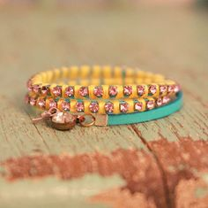 DIY Leather Rhinestone Floss Bracelet Tutorial