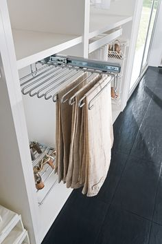 Pull Out Trouser Holder, Under Mounted, Off Centre Fitting - Häfele U. Bedroom Built In Wardrobe, Ikea Wardrobe, Wardrobe Organisation, Wardrobe Storage, Closet Bedroom, Bedroom Storage, Walk In Closet Design, Wardrobe Design, Ikea Pax Closet