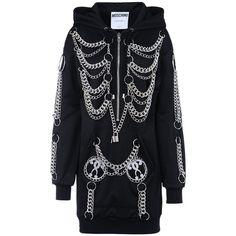 Moschino Short Dress ($640) ❤ liked on Polyvore featuring dresses, jackets, black, long sleeve dress, mini dress, zipper mini dress, moschino dress and moschino