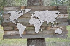 Custom Nail and String Art World Map on reclaimed Wood | 25+ map and globe projects