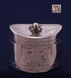 Zilveren lodereindoosje gemaakt in 1819 door Petrus van Gool te Breda