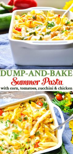 Dump-and-Bake Summer Pasta with Corn, Zucchini, Tomatoes, and Chicken is an easy and healthy dinner recipe! Even though it's a summer pasta, it's great all year long! Gourmet Recipes, Healthy Dinner Recipes, Vegetarian Recipes, Cooking Recipes, Zucchini Dinner Recipes, Vegan Dinners, Chicken Zucchini Pasta, Raw Recipes, Cooking Bacon