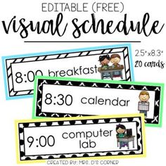 "FREE * Use this editable visual schedule to create individual or whole group schedules for your classroom. What is included? • 20 editable visual schedule cards with pictures Cards measure 2.5""x8.3"" in size. Mount on colorful paper"