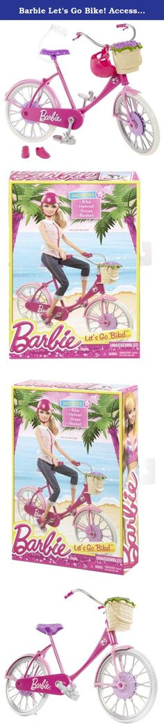 "Barbie Let's Go Bike! Accessory Pack. Barbie Let's Go Bike! Accessory Pack: The On-the-Go accessory packs include fabulous accessories for fun ""on-the-go""! With this set, Barbie doll and her friends (sold separately) can get out of the house for some active, outdoor fun. This bike is perfect for covering some miles on a bright, summer day. Designed in Barbie doll's signature pink with purple accents, it's a picture of sporting style. Cruiser-style handlebars curve high with grips and..."