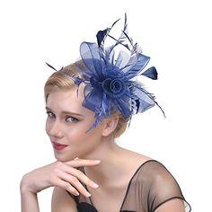 0e9f59bfb73c1 leveltech Women s Fascinator Hat Flower Bead Pillbox Hat Bowler Feather  Flower Hair Clip Wedding Party Hat. Flower HatsFlower ...