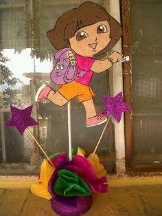 Dora the Explorer Centerpiece Exploradora Centro de mesa Centerpieces, Birthday, Mesas, Birthdays, Center Pieces, Table Centerpieces, Dirt Bike Birthday, Centre Pieces, Centerpiece Ideas