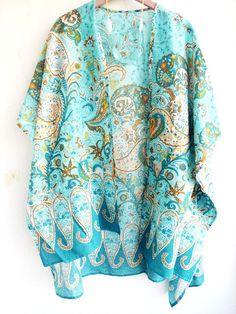Turquoise Kimono Cardigan, Paisley Kimono, Beach coverup, Cotton Gauze Blue Kimono