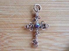 Copper Cross Pendant Swarovski Blue Xilion Wire by OurFrontYard, $17.77
