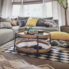 Love the blue and yellow skandi style cushions with the grey sofas - colour pop Cushions For Grey Sofa, Living Room Cushions, Gray Sofa, Blue Cushions, Brown Sofa, Velvet Cushions, Grey Sofa Design, Sofa Colors, Colours