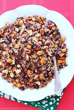 Cranberry, Walnut and Sweet Potato Wild Rice Pilaf