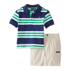 Nautica Baby Boys Green Striped Polo and Shorts Set