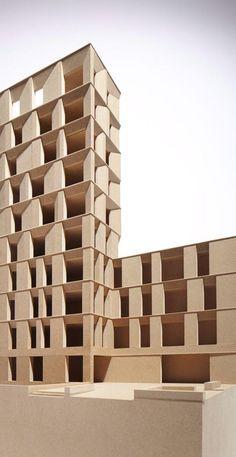 Emerging scheme. Facade study. maquette gevel toren appartementen ritmiek diepte compositie