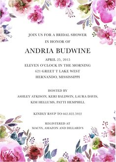 Watercolor Floral Save The Date Bridal Shower by seahorsebendpress