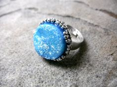 Sky Blue Druzy Ring Blue Cabochon Ring Faux by CaravanOfBeads, $25.00
