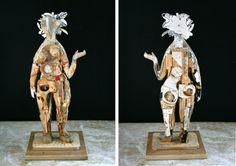 "Artist: Mikhail GUBIN. Eve. Wood, acrylic, ink, wax. 24"" x 10"" x 10"""