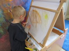 Smudge painting - Use washable markers and water to smudge the lines.