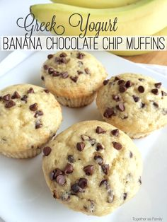 Tender, moist banana muffins full of chocolate chips + the added bonus of protein rich Greek yogurt! These muffins are the perfect way to use up old bananas. We don't usually keep bananas around long enough for them to turn brown. My little girl eats a banana every day and my other two kids (and …