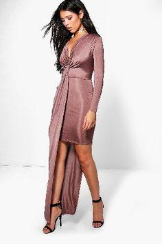 #boohoo Knot Drape Front Slinky Maxi Dress - mocha #Daphne Knot Drape Front Slinky Maxi Dress - mocha