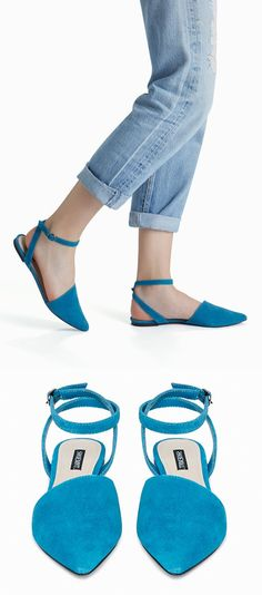 Celia Pointy Toe Flats in Blue or Pink