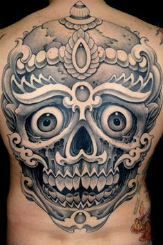 Tibetan Skull Tattoo by Aaron Bell at Slave to the Needle in Seattle WA
