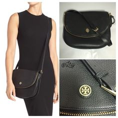 """TORY BURCH ROBINSON PEBBLED MESSENGER SADDLE BAG Authentic like new Tory Burch Robinson Pebbled Messenger bag. Approx 11""""W x 8""""H x 2.3""""D. Adjustable strap drop up to 23.5"""". Black leather w/ gold hardware. Logo on front flap. Flap features zip around compartment. Fully lined. Interior zip and slip pockets. Dustbag not included ❌❌NO TRADES NO PP PLEASE DO NOT ASK❌❌ Tory Burch Bags Crossbody Bags"""